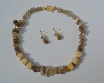 Rutilated Quartz statement necklace and earring set (Free shipping)