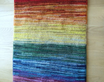 """Hand hooked area rug or wall hanging """"Rainbow Rising"""""""