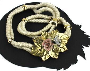 Blue Bird on Pink Flower wtih Gold Leaf Buckle on Ivory Rope Vintage Elastic Belt