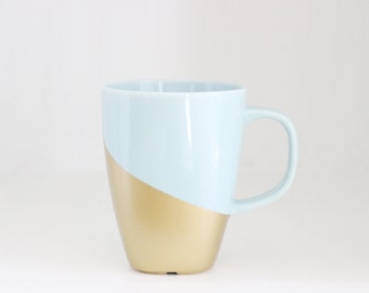 Blue and Gold Retro Style Coffee Tea Cup Mug