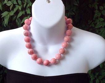 Pink turquoise necklace. Chunky pink turquoise necklace.