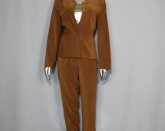 Color of Fall Vintage Faux Suede Pants Suit