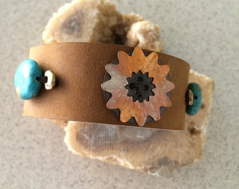 Handmade 1 Inch Leather Cuff With Copper And Brass RM238