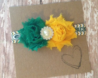 Mini Shabby Flower Greenbay Packers Headband