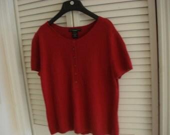RED CASHMERE Sweater  L 100% CASHMERE Short Sleeve  Sz L14-16 Bust 34 Vintage