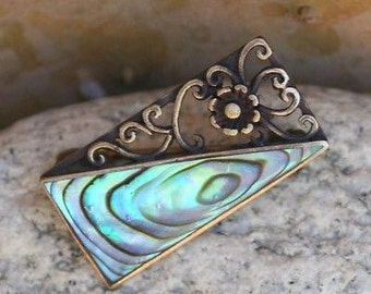 "Ornate Scroll Abalone 1"" Brooch"