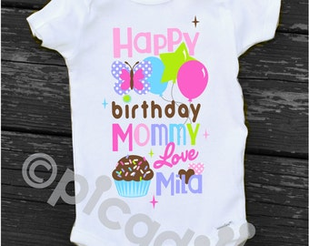 Mom birthday onesie etsy happy birthday mommy onesie baby girl personalized birthday gift for mom baby happy birthday onesie gift negle Images