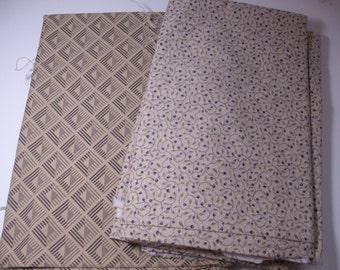 Cotton Fabric Yardage, Calico Fabric, Quilting Fabric, Beige Print Fabric, Beige Calico,  Woven Fabric, Destash  Fabric, Sewing Fabric Lot
