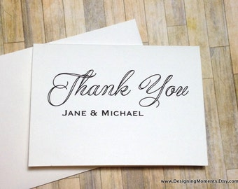 Personalized Wedding Thank You Cards, Thank You Cards Personalized Custom Wedding Thank You Cards Modern Wedding Thank You Cards DM204