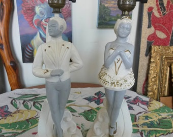1950's Pair of BREST Mfg. Chalkware Asian Dancers Mid Century Lamps MAJESTIC