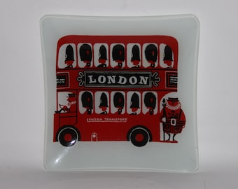 London Bus Swinging 1960s Kenneth Townsend design, Chance glass dish
