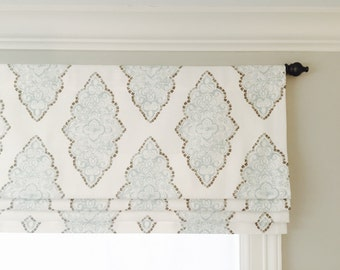 Faux (fake) flat roman shade valance.  Your choice of fabric (up to 10 dollars/yard) included!  Custom Sizing.  Premier Prints Monroe Snowy