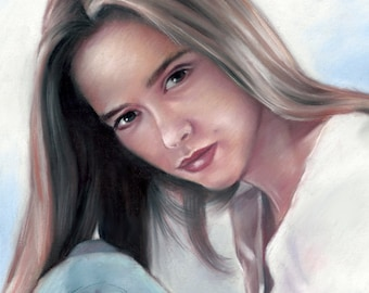 """Jennifer Love Hewitt, painting, poster, print, reproduction, artwork, pastel drawing by artist eugene,16""""x20"""",22.4""""x28"""""""
