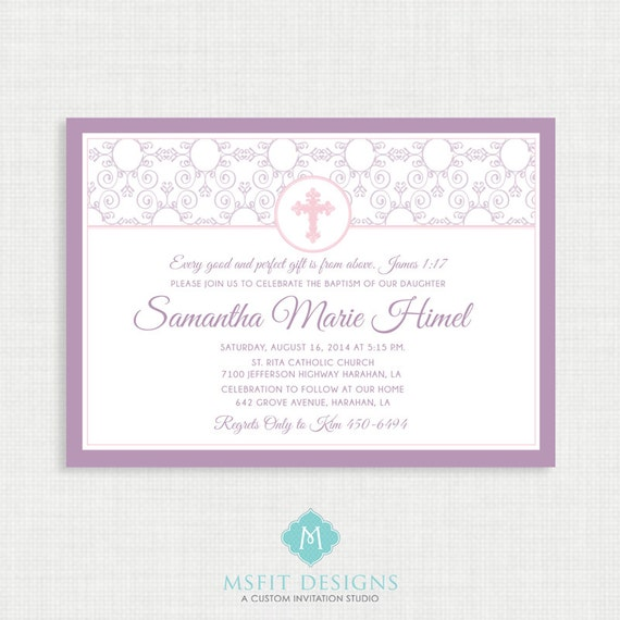 Printable Baptism Invitation- Elegant Baptism Invitation -  Baby Invitations - Dedication, First Communion, Confirmation, Christening