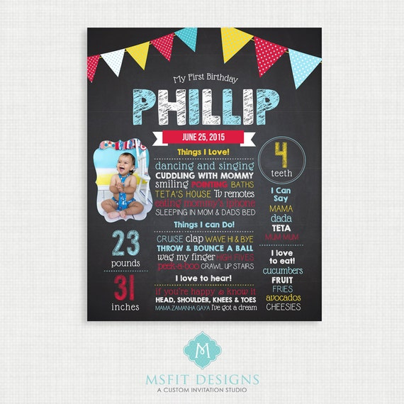 First Birthday Chalkboard Sign, First Birthday Board, First Birthday Board, 1st Birthday Chalkboard, Birthday Board
