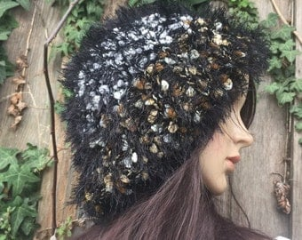 Furry Hat, Black women hat / slouch hat/ slouchy hand made knit hat / Ready to ship
