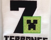 MINECRAFT inspired BIRTHDAY Shirt. Kids Appliquéd Personalized Number Name T-shirt Party Gift. Diamond Sword or Green Block Face. Boys Girl