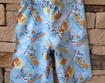 Frozen Olaf Disney Pajama shorts, Blue Summer Fabric Lounge Bottoms, Family Disney World Vacation Trip, Kids 12mo, 18mo, 2t, 3t, 4t, 5t 6 7