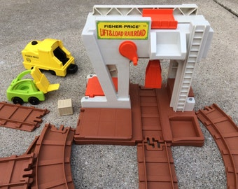 Fisher Price Lift and Load Railroad, 943, 1970s, Train Depot, Train, RR Track, Forklift, Box, 7 Pieces of Track