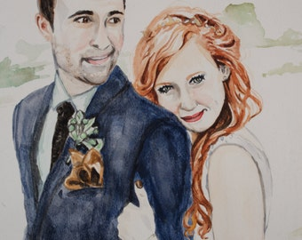 Large Wedding Portrait Watercolor Painting, custom original art, first anniversary paper gift, thoughtful unique one year gift