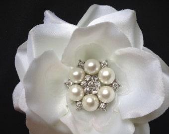Bridal hair flower, white hair flowers, bridal hair clip, bridal accessory