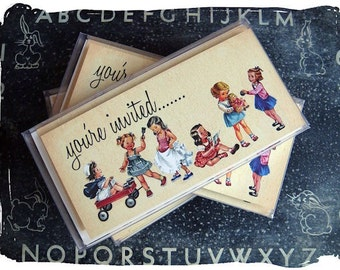 10pk Red Wagon Girls Vintage Retro party invitations