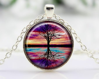 Tree Of Life Cabochon Necklace Art Pendant Tree Of Life Reflection Necklace Tree Pendant Necklace Tree Of Life Necklace CN413