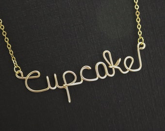 Cupcake necklace, Personalized necklace, wire wrapped necklace, wire name necklace, cupcake, personalized, name, personalized necklace, gift