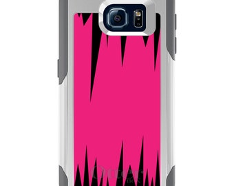 OtterBox Commuter for Galaxy S4 / S5 / S6 / S7 / S8 / S8+ / Note 4 5 8 - CUSTOM Monogram - Any Colors - Hot Pink Black Spikes