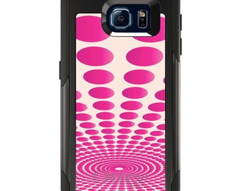 OtterBox Commuter for Galaxy S4 / S5 / S6 / S7 / S8 / S8+ / Note 4 5 8 - CUSTOM Monogram - Any Colors - Hot Pink Polka Dots Swirl