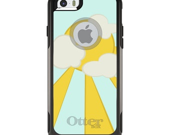OtterBox Commuter for Apple iPhone 5S SE 5C 6 6S 7 8 PLUS X 10 - Custom Monogram - Any Colors - Blue Yellow Sun Sky Clouds