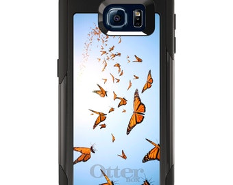 OtterBox Commuter for Galaxy S4 / S5 / S6 / S7 / S8 / S8+ / Note 4 5 8 - CUSTOM Monogram - Any Colors - Flying Monarch Butterflies
