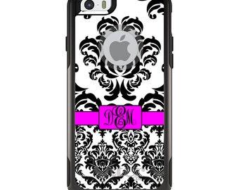 OtterBox Commuter for Apple iPhone 5S SE 5C 6 6S 7 8 PLUS X 10 - Custom Monogram or Image - Black White Double Damask