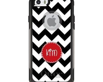 OtterBox Commuter for Apple iPhone 5S SE 5C 6 6S 7 8 PLUS X 10 - Custom Monogram or Image - Black White Chevron Red Circle