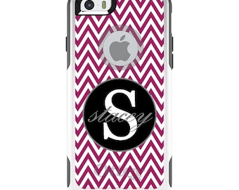 OtterBox Commuter for Apple iPhone 5S SE 5C 6 6S 7 8 PLUS X 10 - Custom Monogram or Image - Fuchsia White Chevron Gray