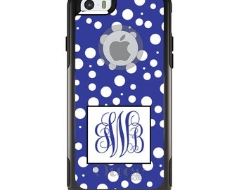OtterBox Commuter for Apple iPhone 5S SE 5C 6 6S 7 8 PLUS X 10 - Custom Monogram or Image - Blue White Dots Blue Initials