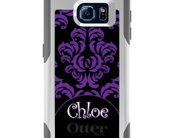 OtterBox Commuter for Galaxy S4 / S5 / S6 / S7 / S8 / S8+ / Note 4 5 8 - CUSTOM Monogram Name Initials - Purple Black White Damask