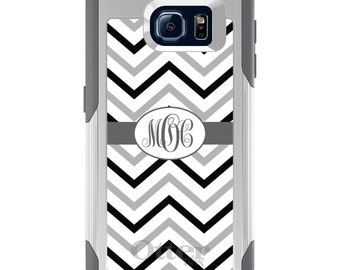 OtterBox Commuter for Galaxy S4 / S5 / S6 / S7 / S8 / S8+ / Note 4 5 8 - CUSTOM Monogram Name Initials - Black White Grey Chevron Stripes