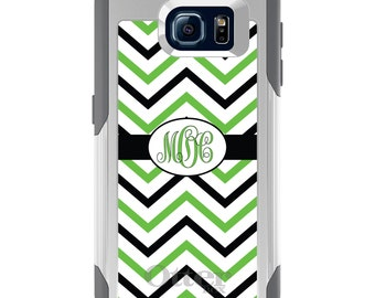 OtterBox Commuter for Galaxy S4 / S5 / S6 / S7 / S8 / S8+ / Note 4 5 8 - CUSTOM Monogram Name Initials - Black Green White Chevron Stripes