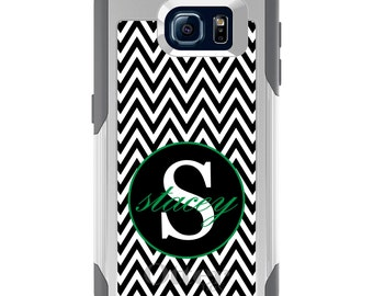 OtterBox Commuter for Galaxy S4 / S5 / S6 / S7 / S8 / S8+ / Note 4 5 8 - CUSTOM Monogram Name Initials - Black White Chevron Green
