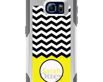 OtterBox Commuter for Galaxy S4 / S5 / S6 / S7 / S8 / S8+ / Note 4 5 8 - CUSTOM Monogram Name Initials - Black White Chevron Yellow Name