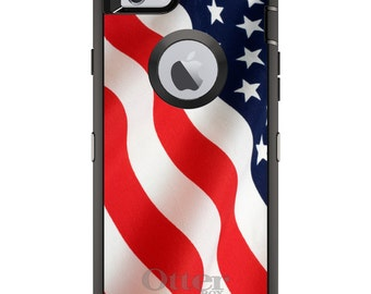 Custom OtterBox Defender Case for Apple iPhone 6 6S 7 8 PLUS X 10 - Personalized Monogram - Red White Blue United States Flag USA