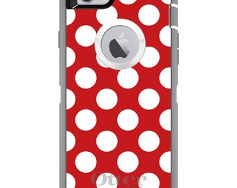 CUSTOM OtterBox Defender Case for Apple iPhone 6 6S 7 8 PLUS X 10 - Personalized Monogram - White & Red Polka Dots