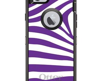 CUSTOM OtterBox Defender Case for Apple iPhone 6 6S 7 8 PLUS X 10 - Personalized Monogram - Purple & White Zebra Skin Stripes