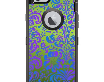 CUSTOM OtterBox Defender Case for Apple iPhone 6 6S 7 8 PLUS X 10 - Personalized Monogram - Green Purple Blue Floral Pattern