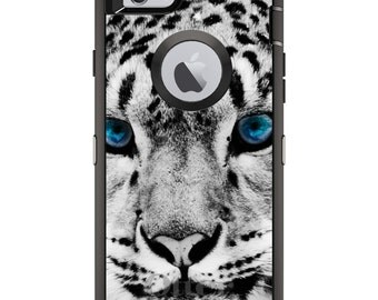 CUSTOM OtterBox Defender Case for Apple iPhone 6 6S 7 8 PLUS X 10 - Personalized Monogram - Snow Leopard Blue Eyes
