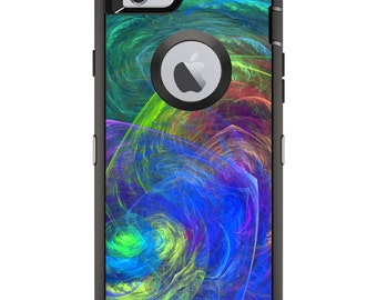 CUSTOM OtterBox Defender Case for Apple iPhone 6 6S 7 8 PLUS X 10 - Personalized Monogram - Abstract Color Light Swirl