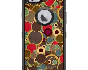 CUSTOM OtterBox Defender Case for Apple iPhone 6 6S 7 8 PLUS X 10 - Personalized Monogram - Brown Red Yellow Circles