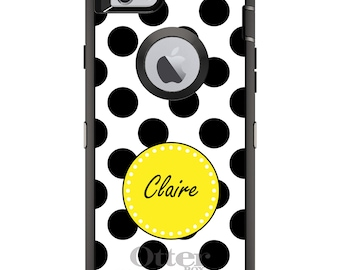 CUSTOM OtterBox Defender Case for Apple iPhone 6 6S 7 8 PLUS X 10 - Personalized Monogram - Black Yellow White Polka Dots