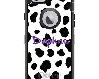 CUSTOM OtterBox Defender Case for Apple iPhone 6 6S 7 8 PLUS X 10 - Personalized Monogram - Black White Purple Cow Print